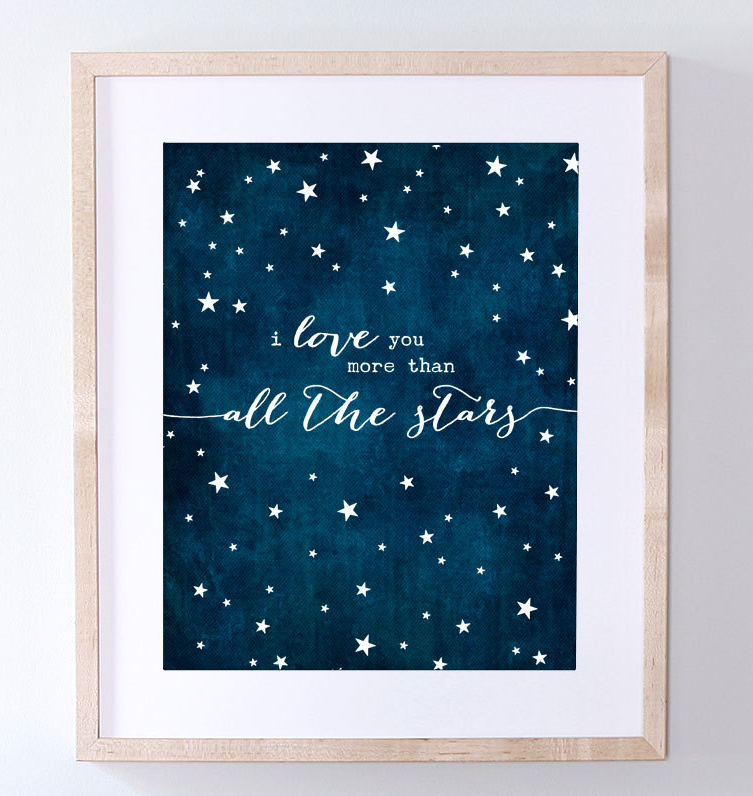 i love you more than all the stars art print love stars art print