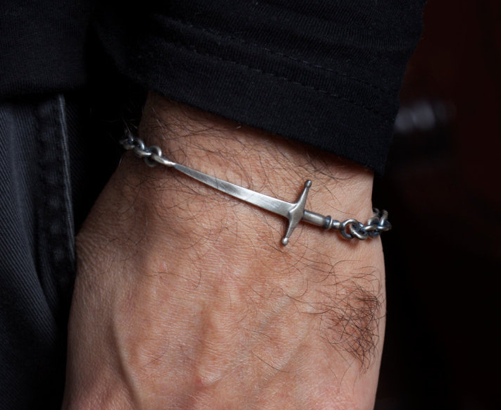 Mens Sword Bracelet in silver.