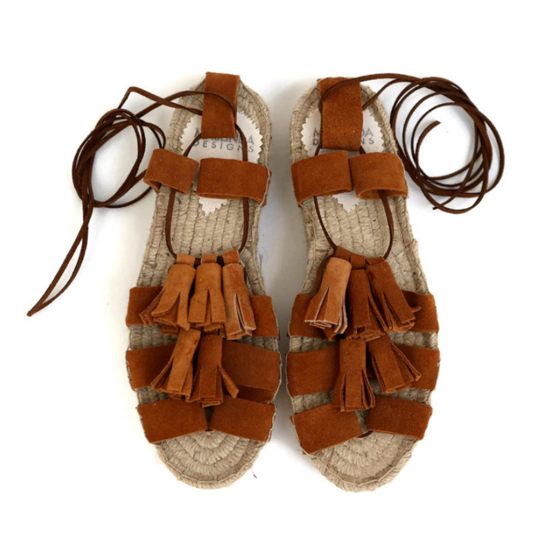 suede tassel sandals on etsy