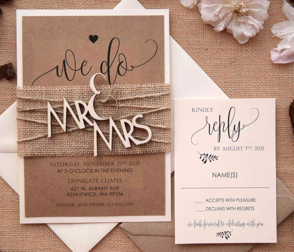 etsy wedding invitations rustic theme