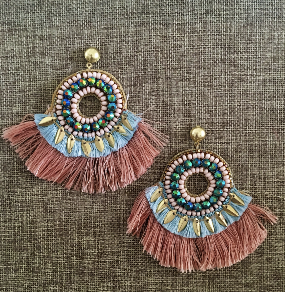 Fringe Earrings with Seed Beads and Gold Leaves