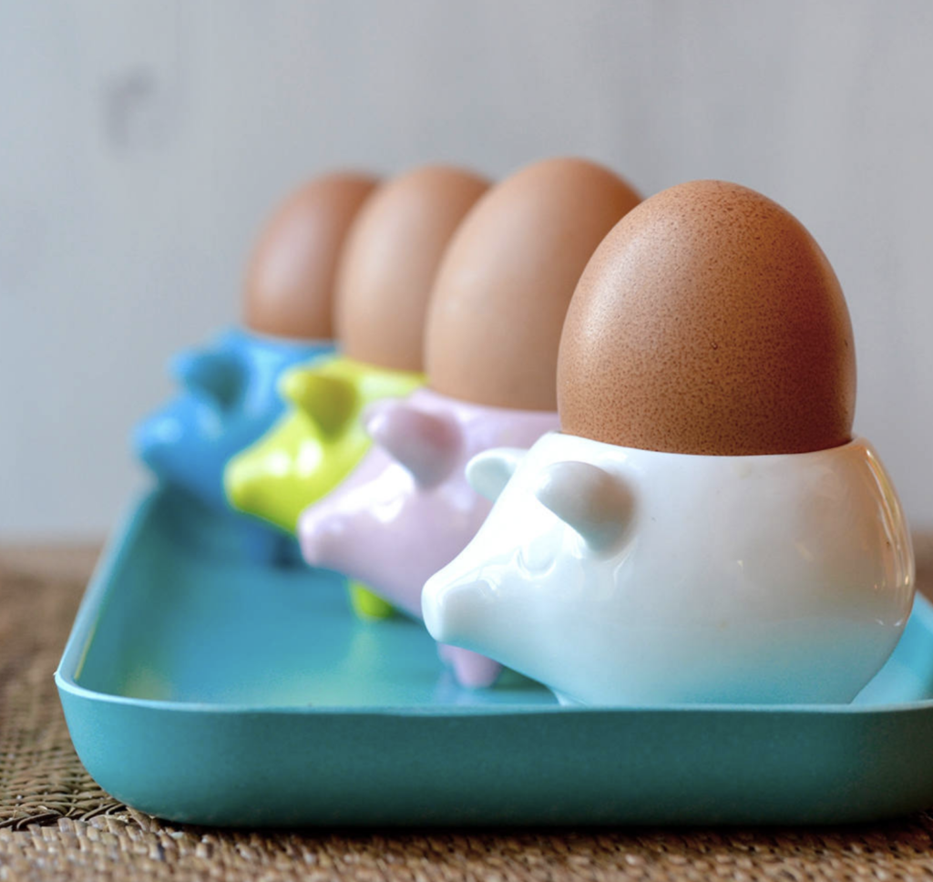 Soft Boiled Egg Cups featuring Pig Shape