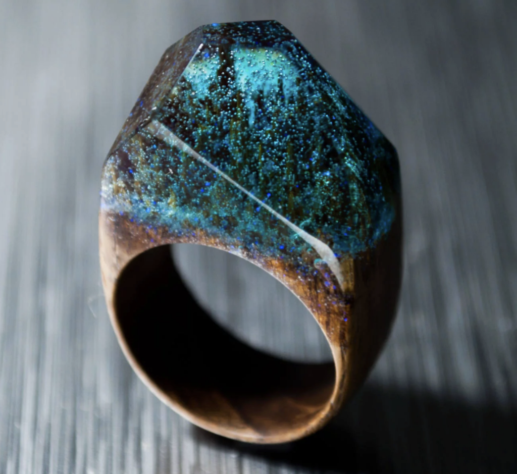 wood resin ring with exotic wood