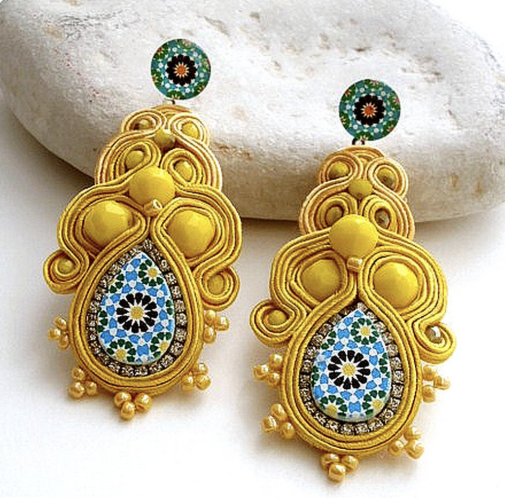 yellow statement earrings with ceramic center
