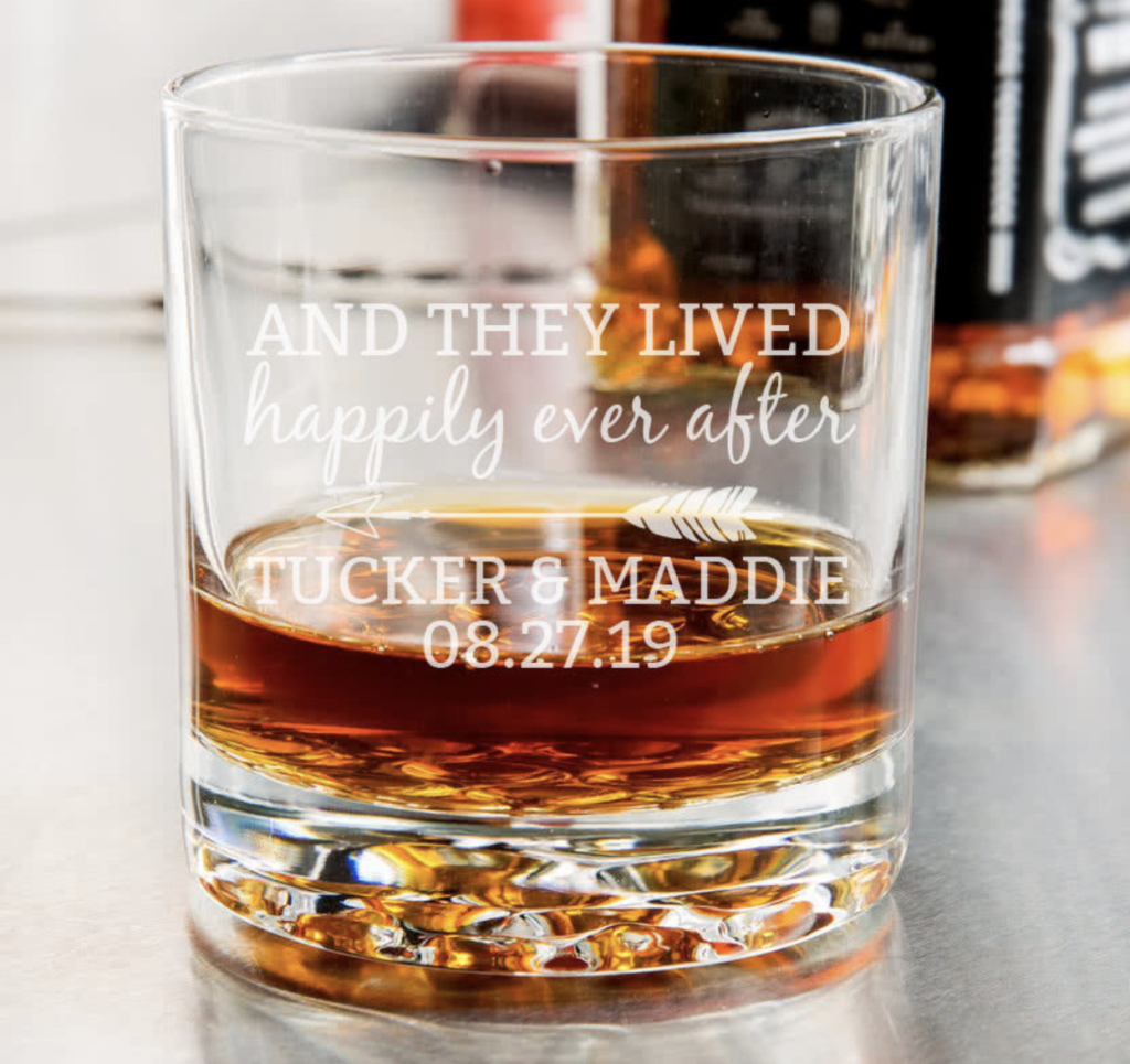cool wedding whiskey glasses and they lived happily ever after
