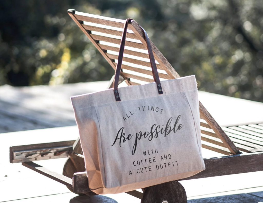 Large Tote Bag with Quote