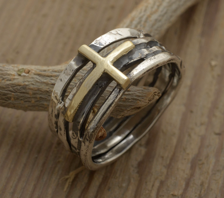 Mens Cross Ring Gold Sterling Silver
