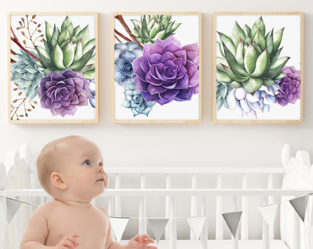 purple succulent wall art print set watercolor